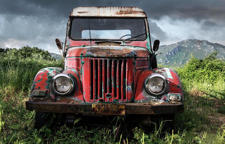 Car Photograph - Old Forgotten Red Car by Jaroslaw Blaminsky