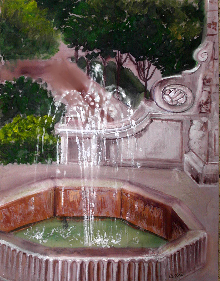 Fountain Painting - Old Fountain by Anne Cameron Cutri