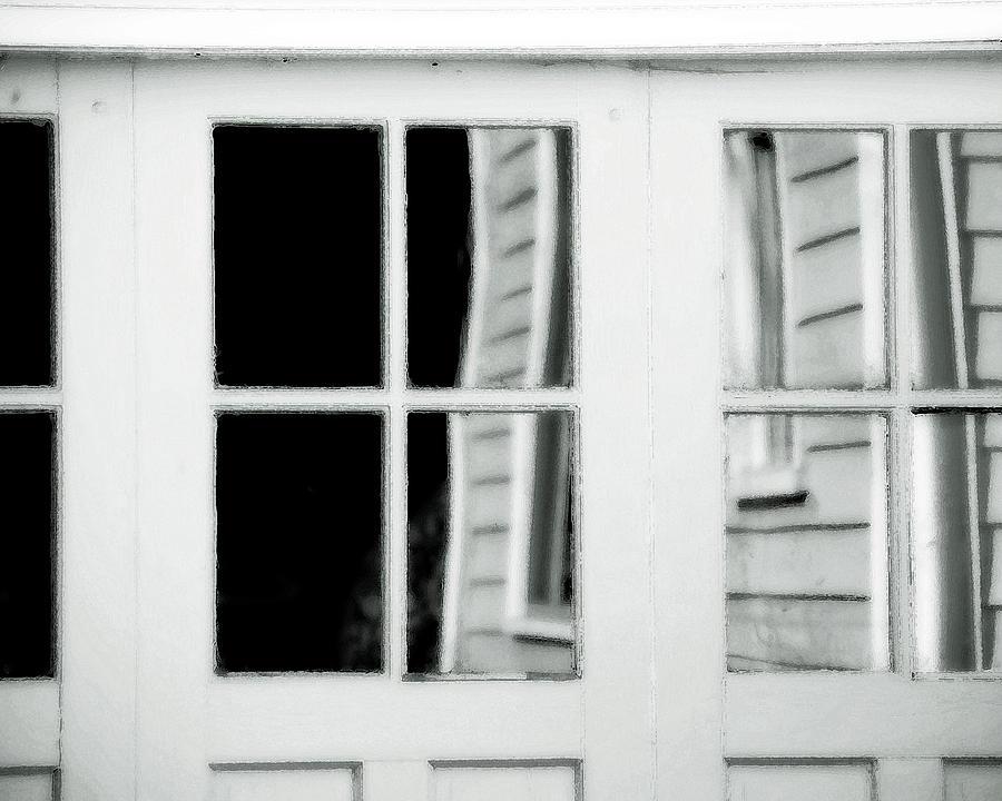 Reflective Glass Photograph - Old Garage Door by Bonnie Bruno