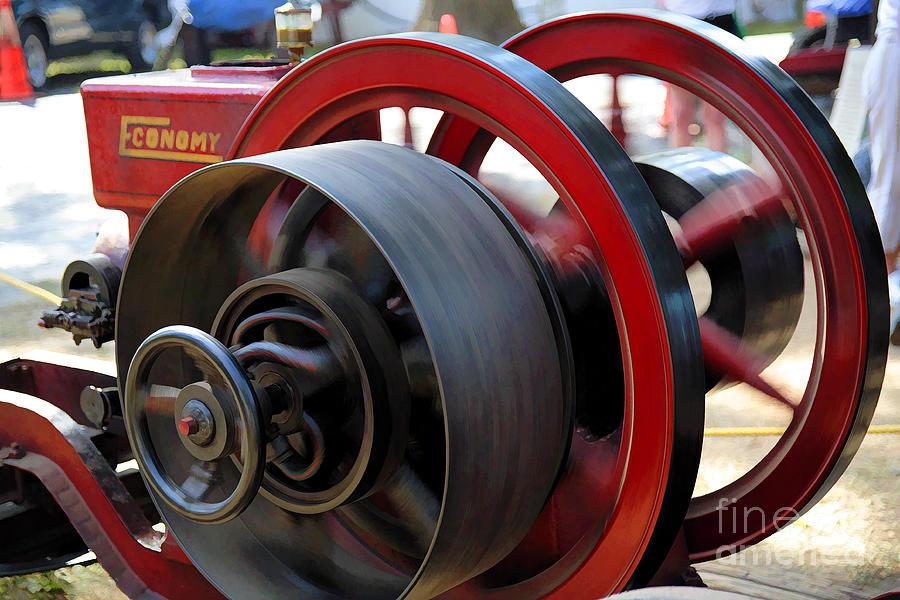 County Fair Digital Art - Old Gas Engine With Digital Effects by William Kuta