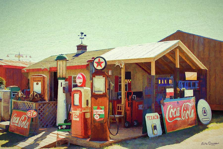 Old Gas Station Signs 4968 Painting By Fritz Ozuna