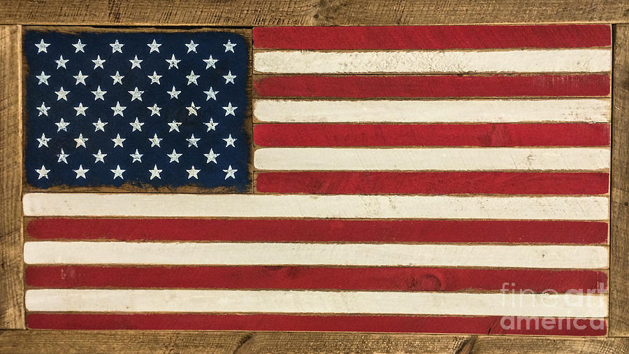 Old Glory Photograph - Old Glory Displayed On Wood by Dale Powell