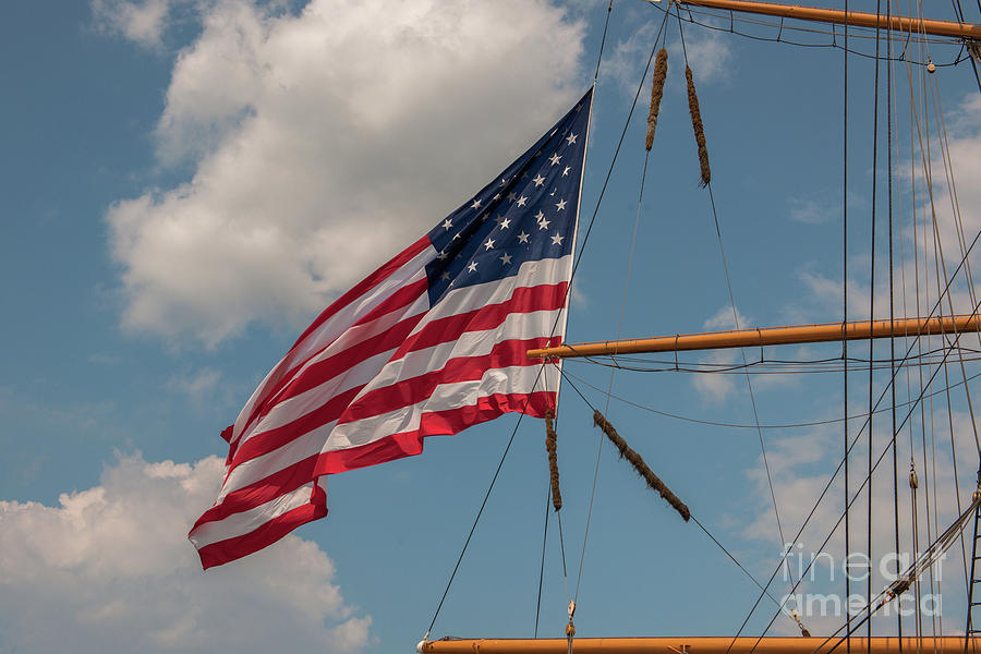 Flag Photograph - Old Glory Flying Over Eagle by Dale Powell