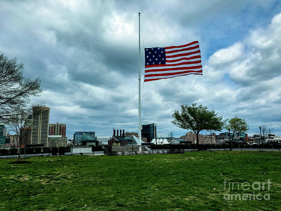 American Flag Photograph - Old Glory Over Baltimore by Jason Sullivan