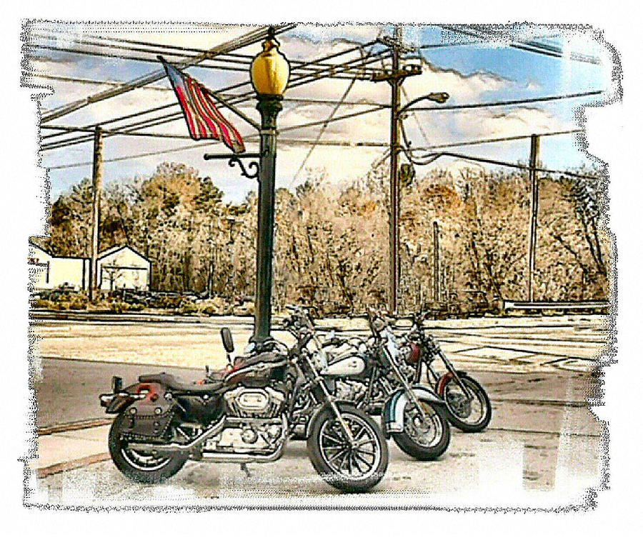 Motorcycles Photograph - Old Glory by Rose Guay