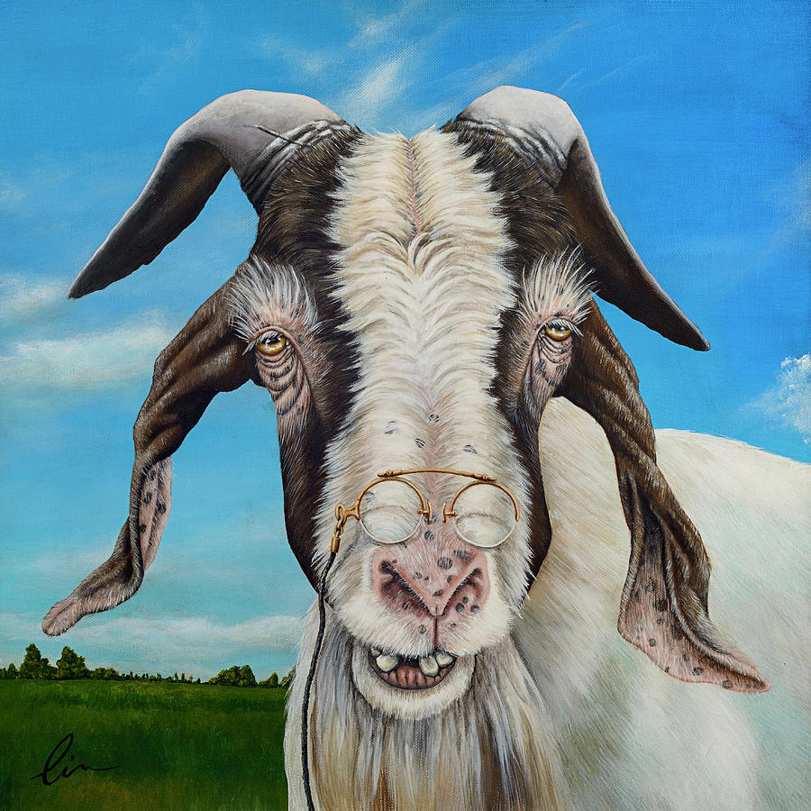 Goat Painting - Old Goat - Painting By Cindy Chinn by Cindy D Chinn
