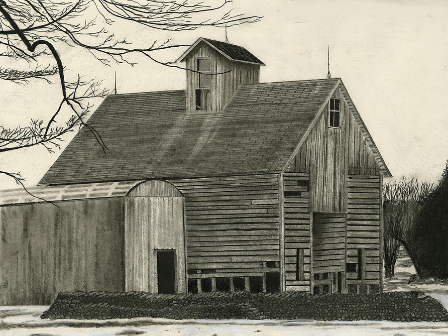 Drawing Greeting Cards Drawing - Old Grainery by Bryan Baumeister