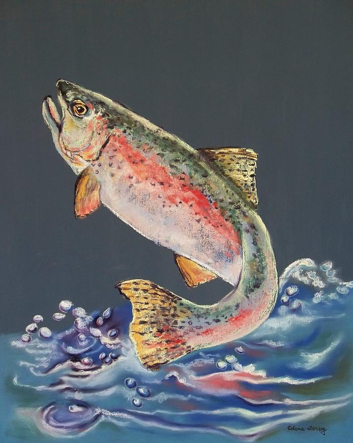 Trout Painting - Old Grandad by Celene Terry