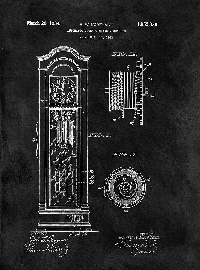 Old Grandfather Clock Patent