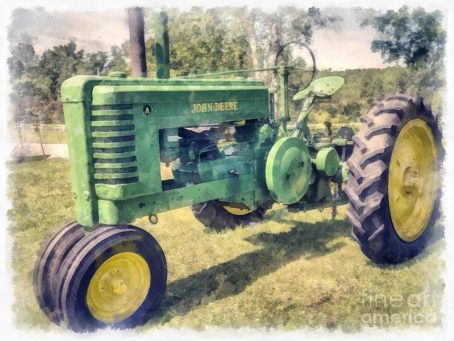 Tractor Digital Art - Old Green Vintage Tractor Watercolor by Edward Fielding