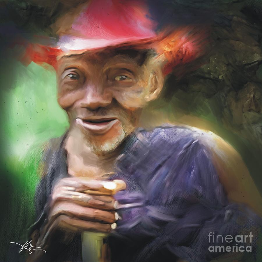 Portrait Painting - Old Haitian Field Worker by Bob Salo