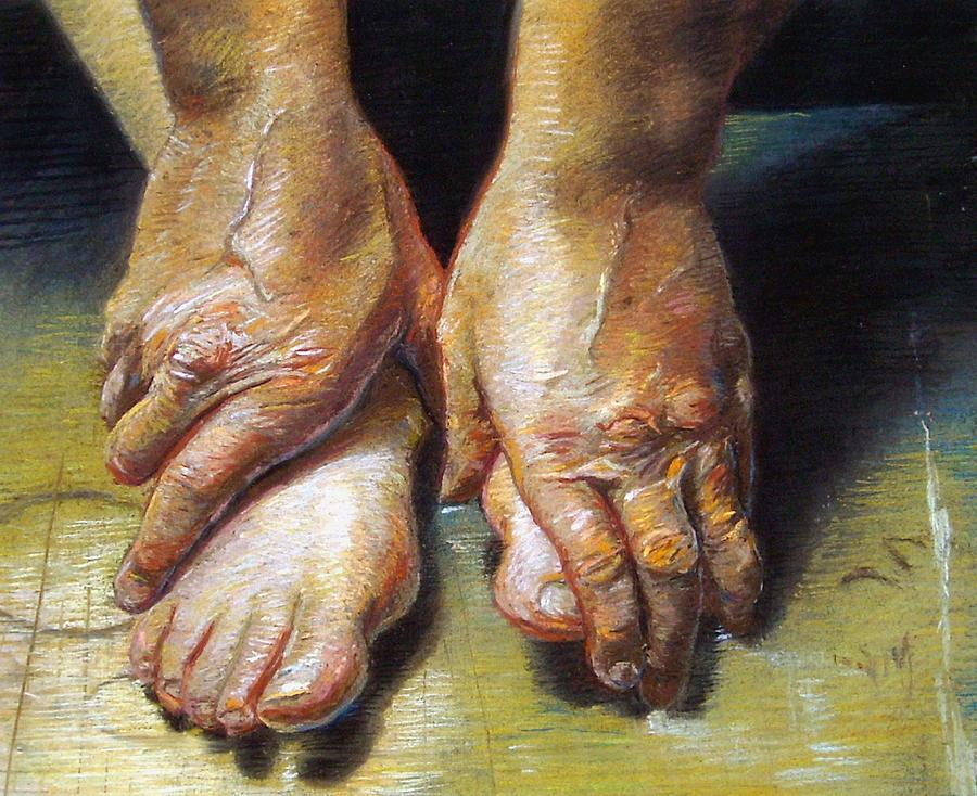 Old Hands And Tired Feet Painting by Cameron Hampton PSA