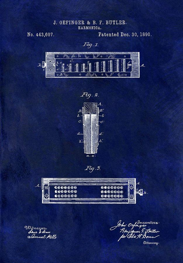 Old Harmonica Patent Drawing