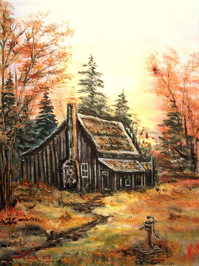 Old house and Pump Painting by Kenneth LePoidevin