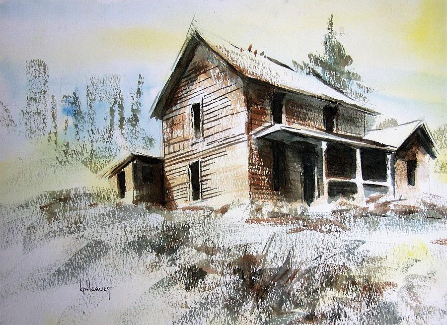Ghost Town Painting - Old House Marysville Ghosttown Montana by Kevin Heaney