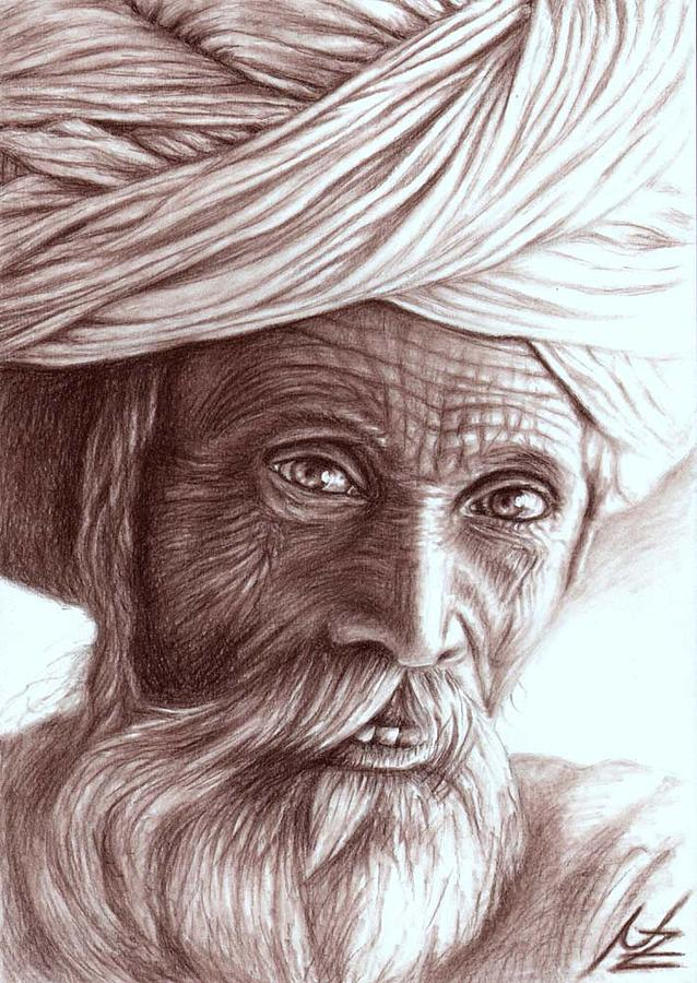 Man Drawing - Old Indian Man by Nicole Zeug