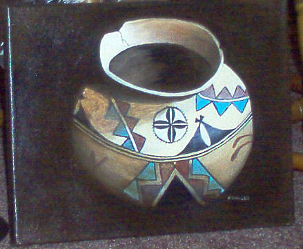 Still Life Painting - Old Indian Pot by Nancy Waller