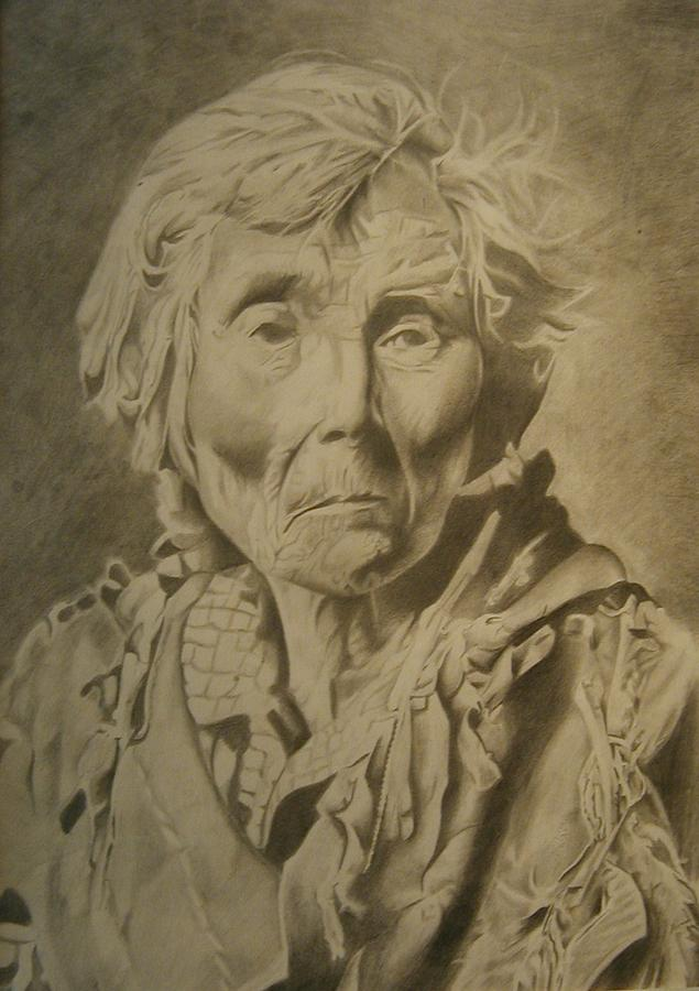 Portrait Drawing - Old Indian Woman by Bennie Parker