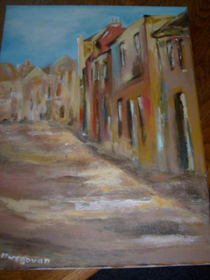 Street Painting - Old Irish Town by Deirdre McNamara