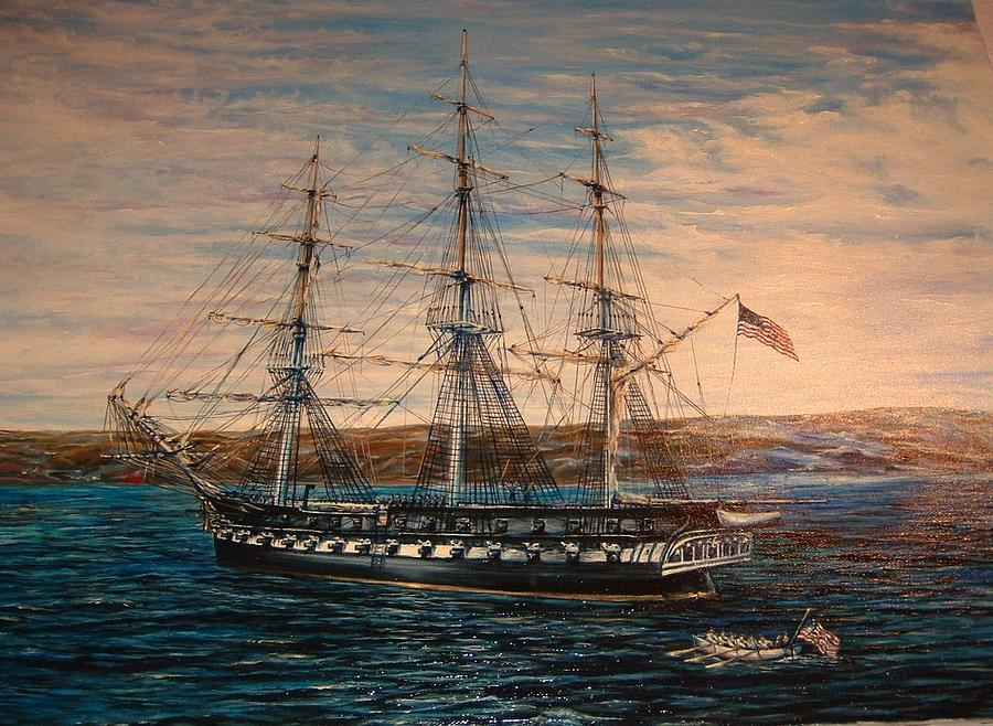 Old Ironside At Marblehead Painting by Xavier Maumus