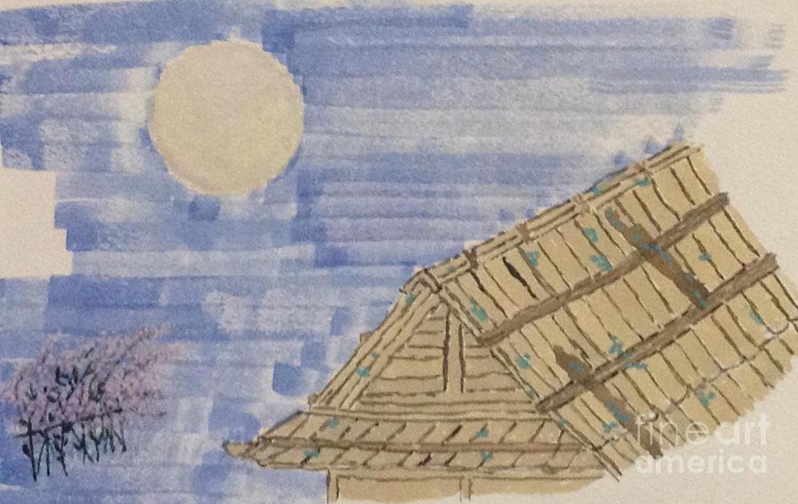 Old Japan At Nightfall Painting by Sawako Utsumi