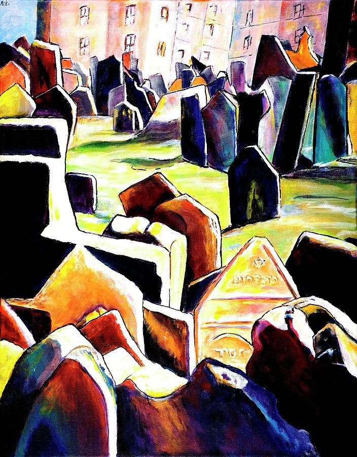 Prague Painting - Old Jewish Cemetary In Prague by Miki  Sion