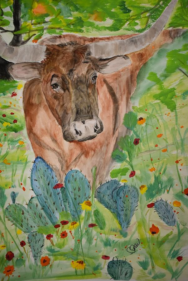Texas Longhorn Painting - Old Joe by Susan Voidets