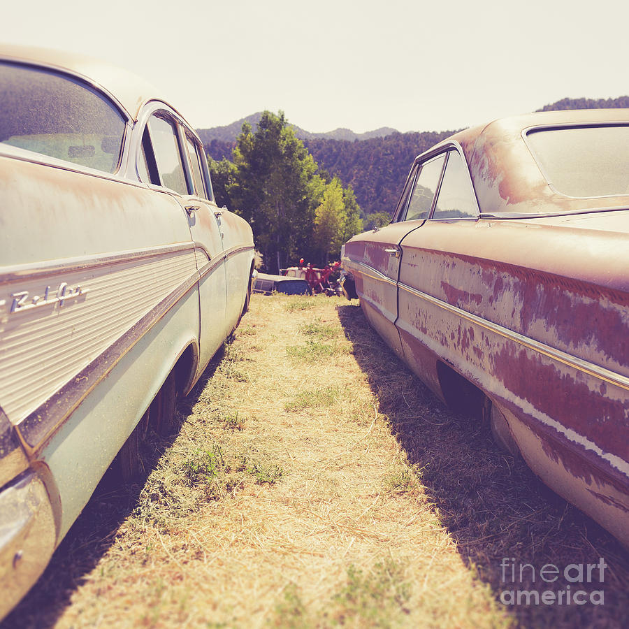 America Photograph - Old Junkyard Cars Chevy And Ford Utah by Edward Fielding