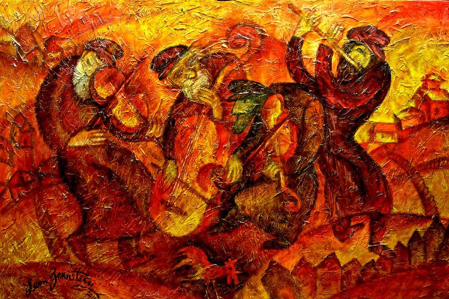 Jewish Music Painting - Old Klezmer Band by Leon Zernitsky