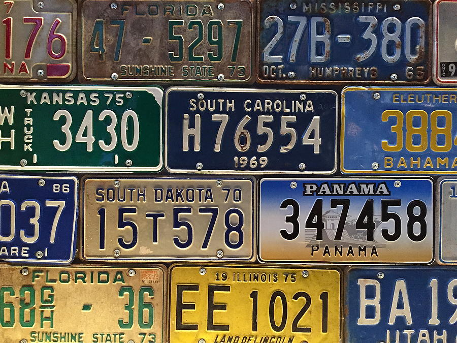 Old License Plate Artwork Photograph by Denise Mazzocco