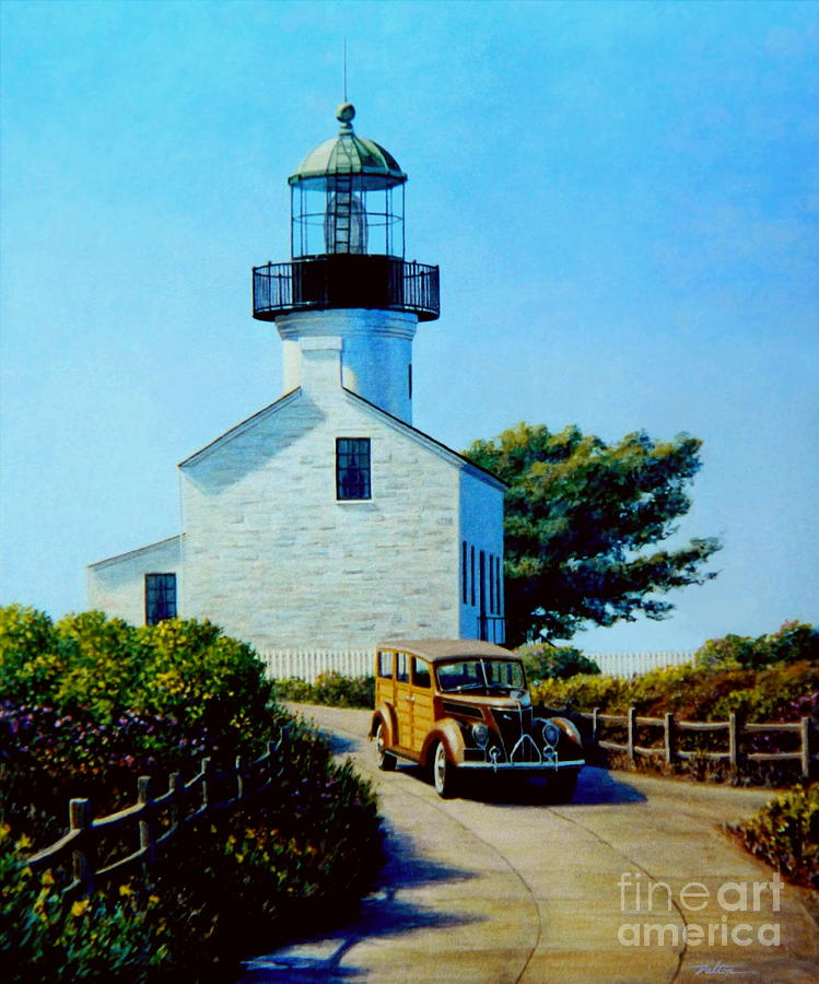 Lighthouse Painting - Old Lighthouse Point Loma by Frank Dalton