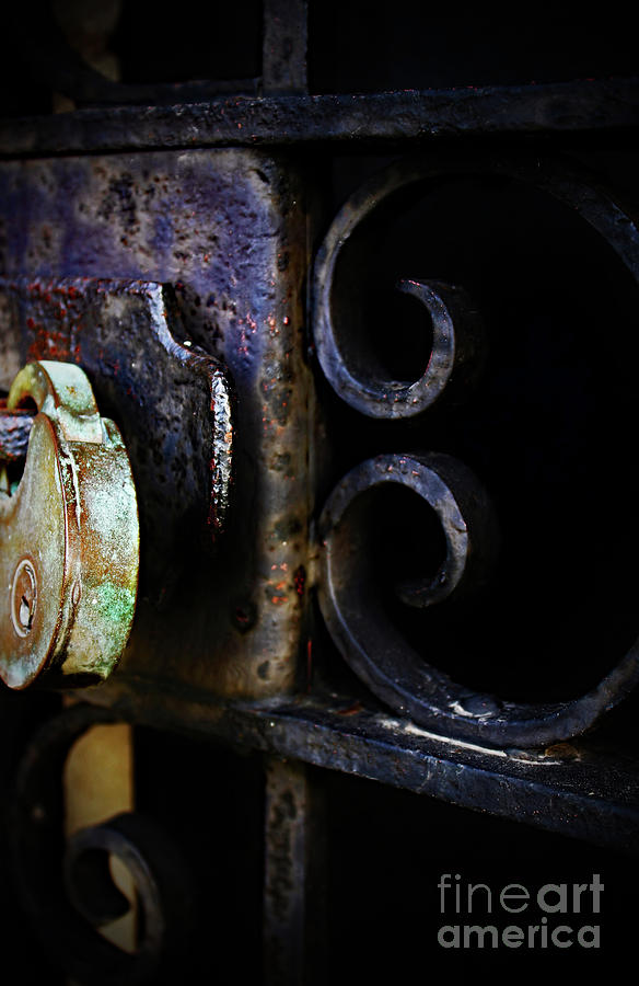 Old Photograph - Old Lock On A Cast Iron Gate by Don Baker