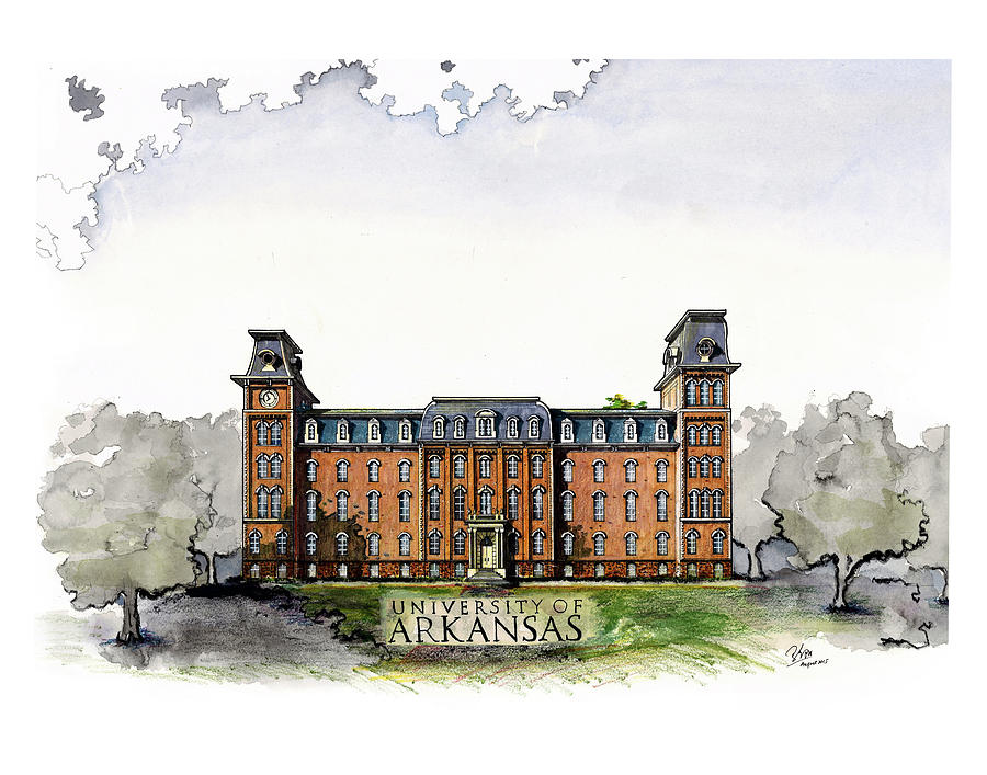 Old Main of University of Arkansas Diploma Size by Yang Luo-Branch