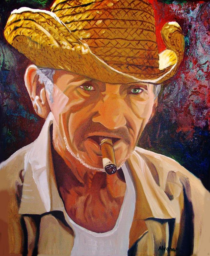 Cigar Man Painting - Old Man by Jose Manuel Abraham