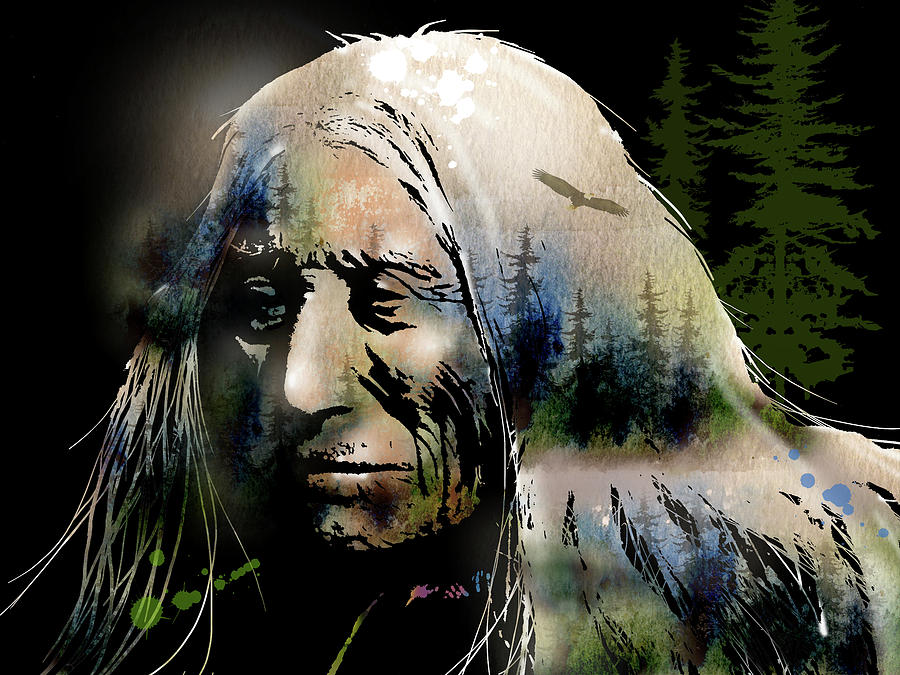 Native Americans Painting - Old Man Of The Woods by Paul Sachtleben