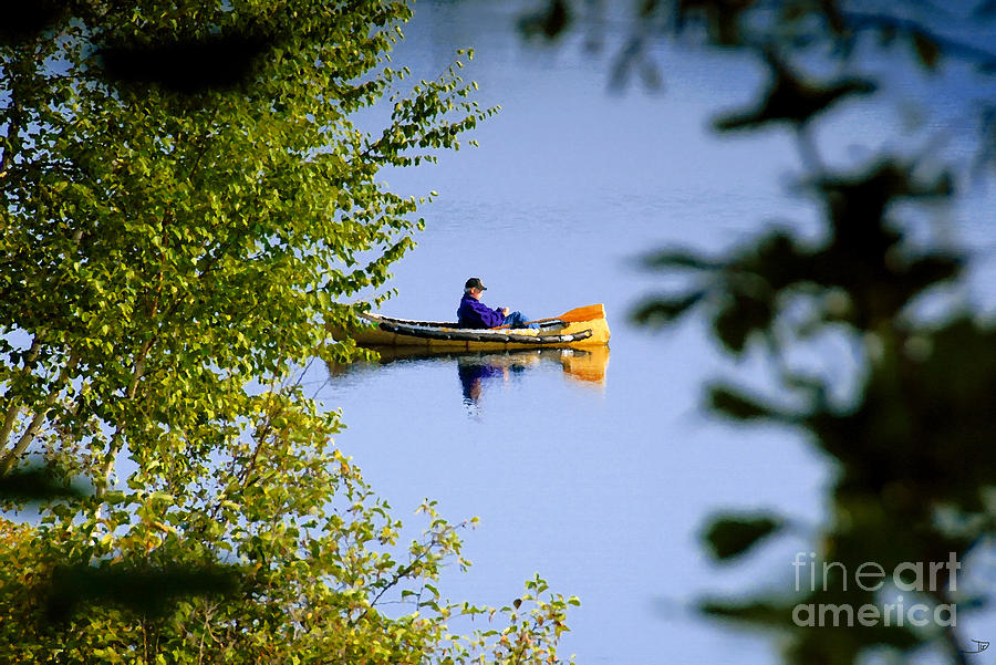 Lake Painting - Old Man On The Lake by David Lee Thompson