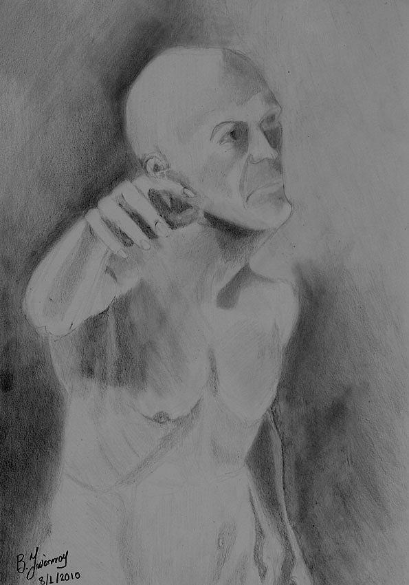 Old Man Portrait Study Drawing by Vasilis Ioannou