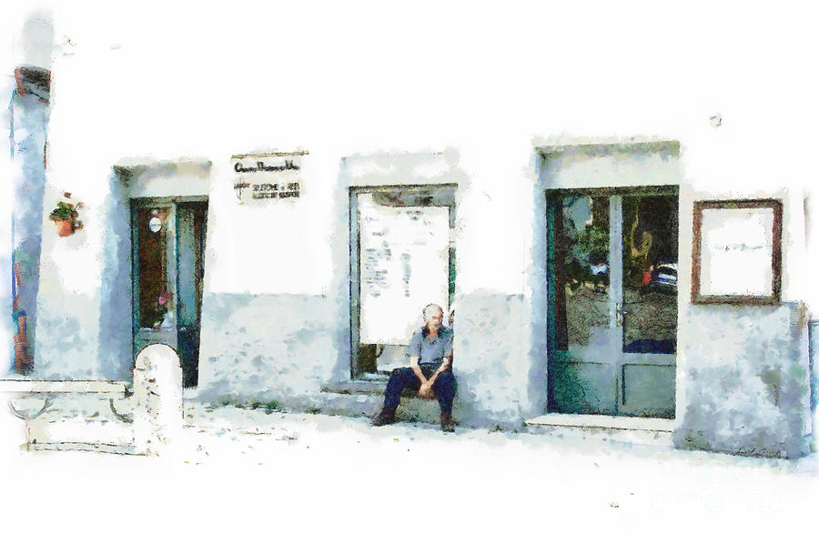 Old Men Painting - Old Man Sitting In Front Of A Shop by Giuseppe Cocco