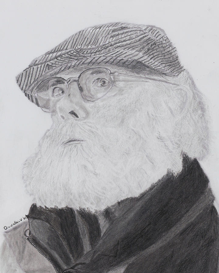 Portrait Drawing - Old Man With Beard by Quwatha Valentine