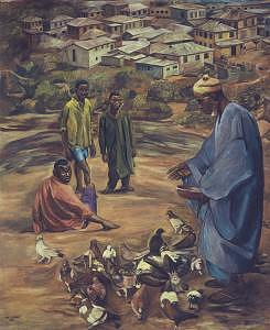 Ancestor Painting - Old Mans Pastime by Joe Amenechi