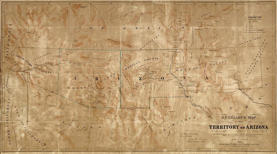 Map Of Arizona And New Mexico.Old Map Of Arizona And New Mexico By Arthur De Witzleben 1860