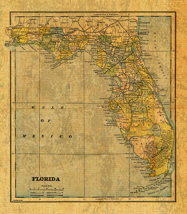 Old Map Of Florida Vintage Circa 1893 On Worn Distressed