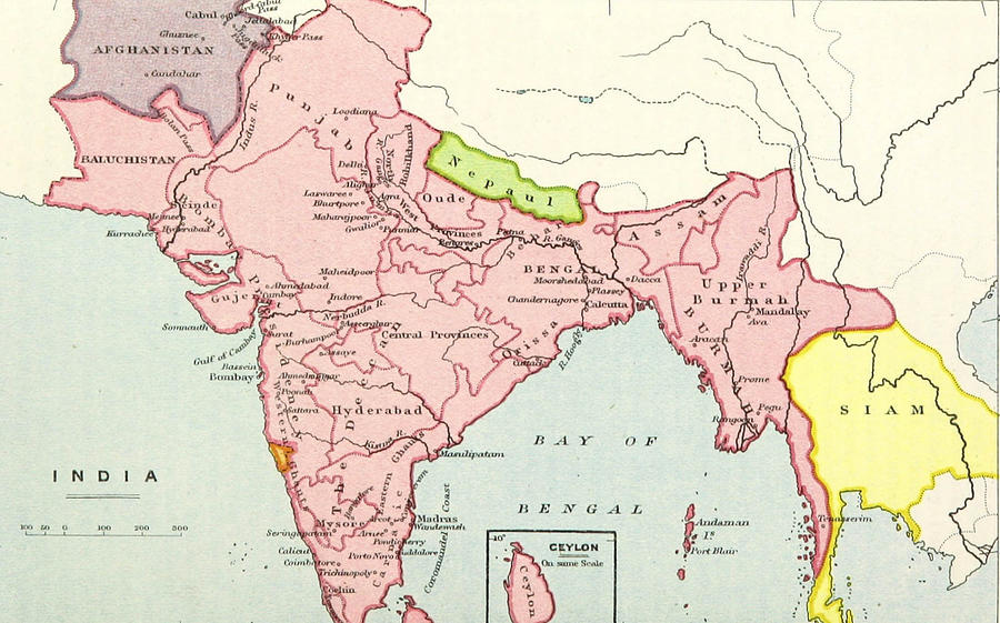 Old Map Of India Drawing By Fl Collection