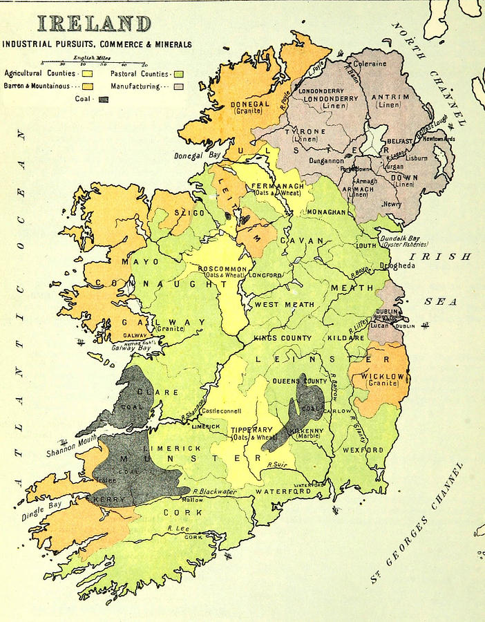Map Of Ireland Drawing.Old Map Of Ireland Drawing By Fl Collection