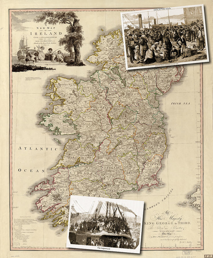 Vintage Map Of Ireland With Old Irish Woodcuts Photograph by