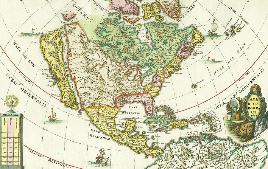 Old Map Of North America 2 Photograph By Roy Pedersen
