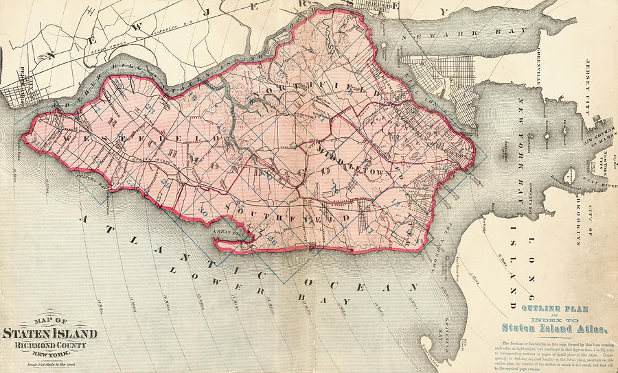 Old Staten Island Maps Old Map Of Staten Island Digital Art by Roy Pedersen