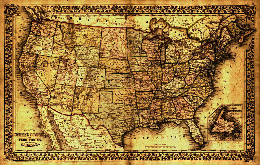 Old Map United States Painting By Lucia Sirna - Old-map-of-us