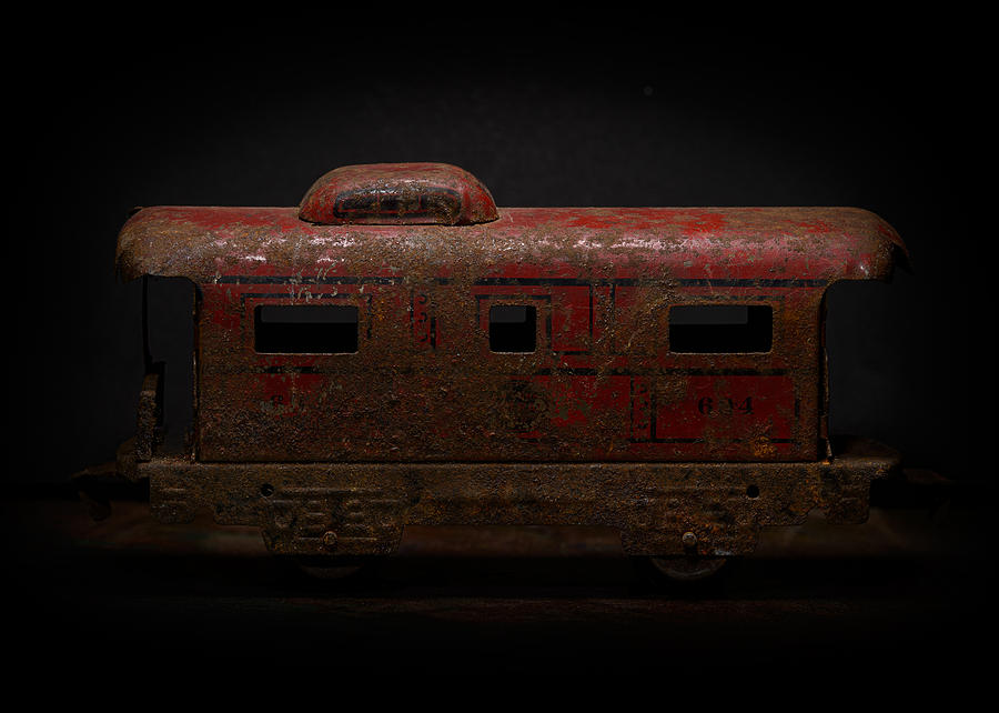 Train Photograph - Old Metal Toy Caboose by Art Whitton