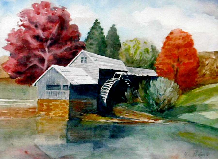 Landscape Painting - Old Mill by Florence Unkeless